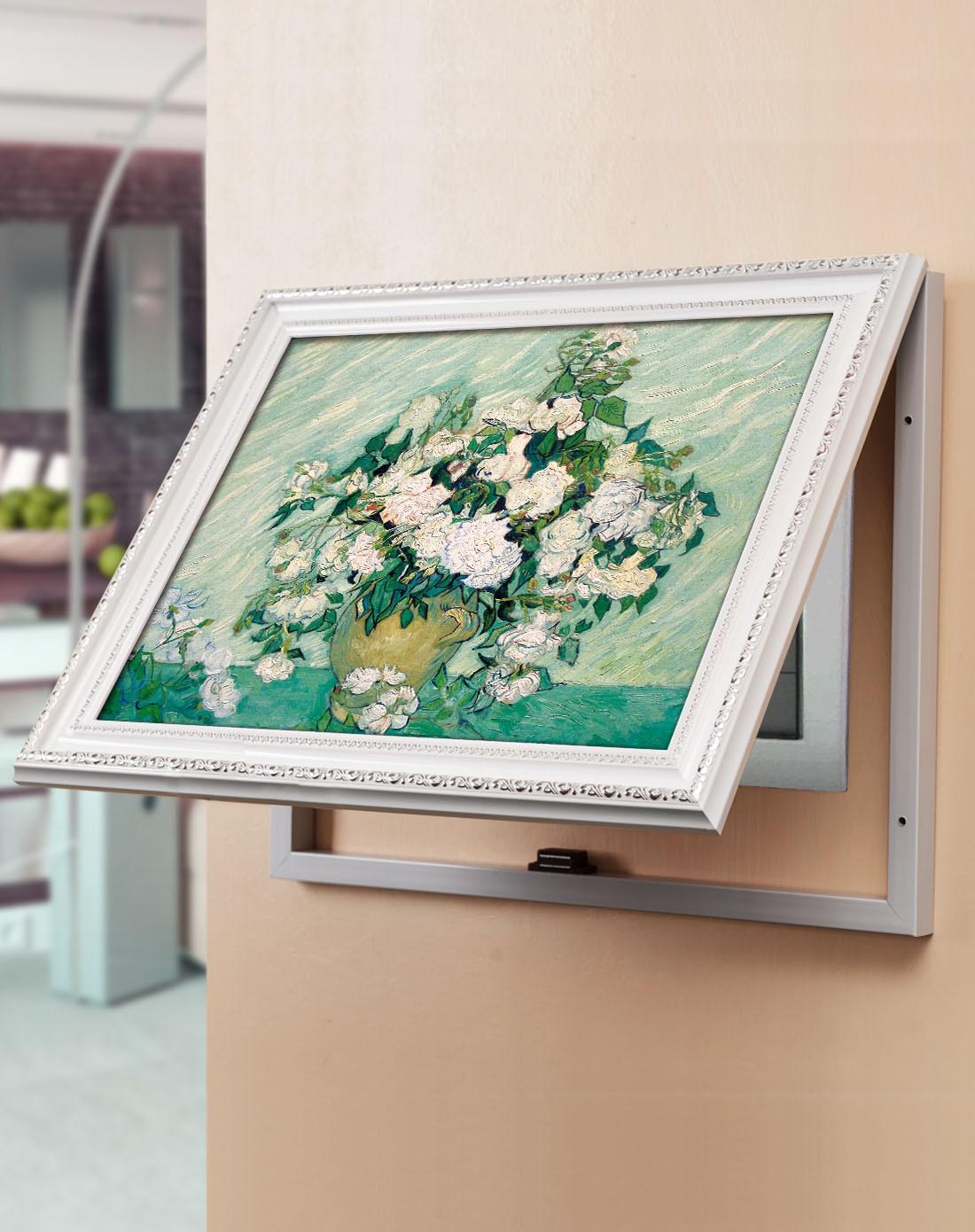 柠檬树家居装饰专场掀盖电表箱装饰画 梵高白玫瑰k11