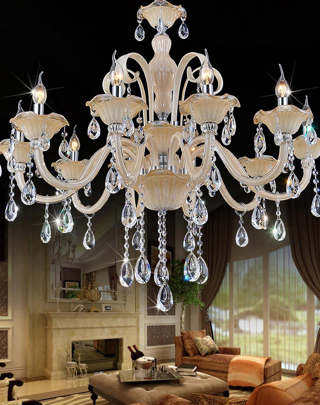 高端奢华顶级欧式水晶蜡烛吊灯10头