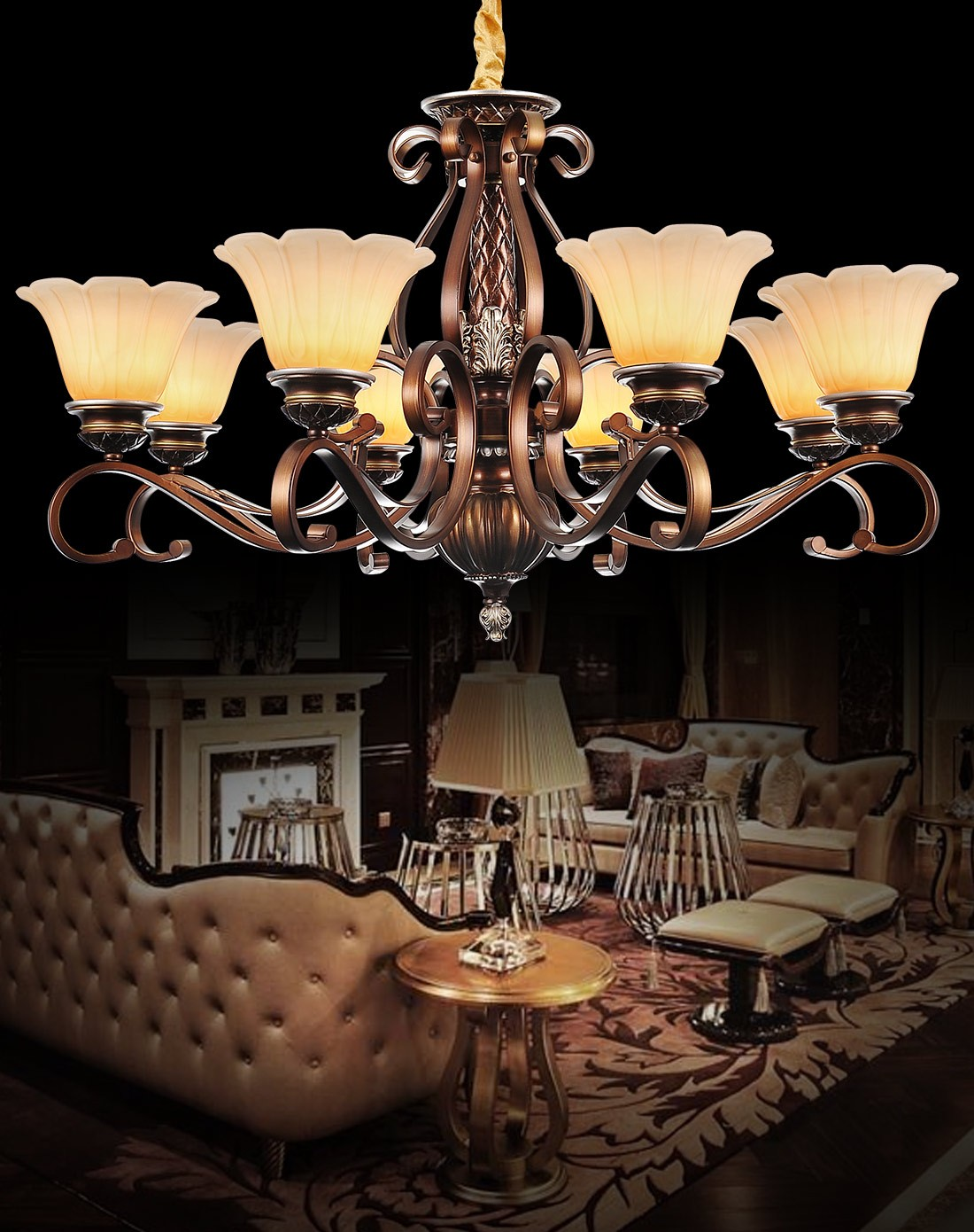 歐式吊燈簡歐田園客廳燈飾樹脂吊燈ys2001