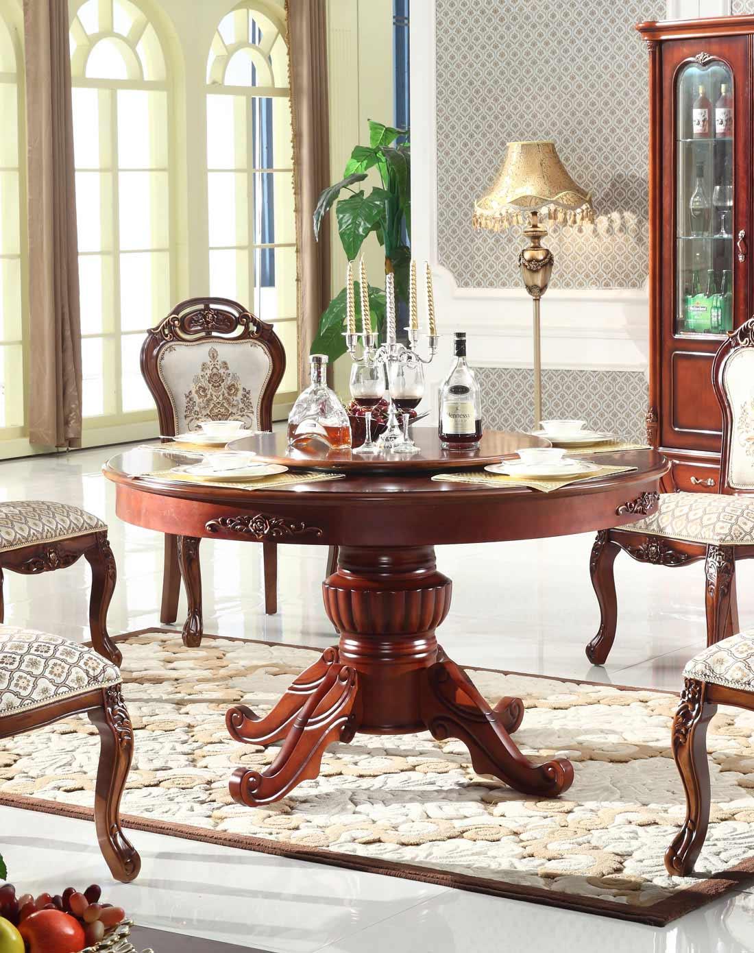 凯哲家具专场欧式古典全实木圆餐桌