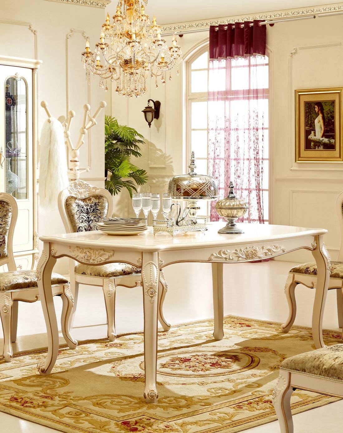 欧式奢华餐桌 田园实木餐台饭桌+大理石