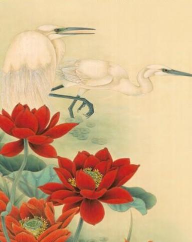 中式彩绘印花卷帘挂画 红荷双鹭