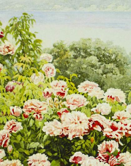 典雅欧式纯手绘利运风景油画 玫瑰花园