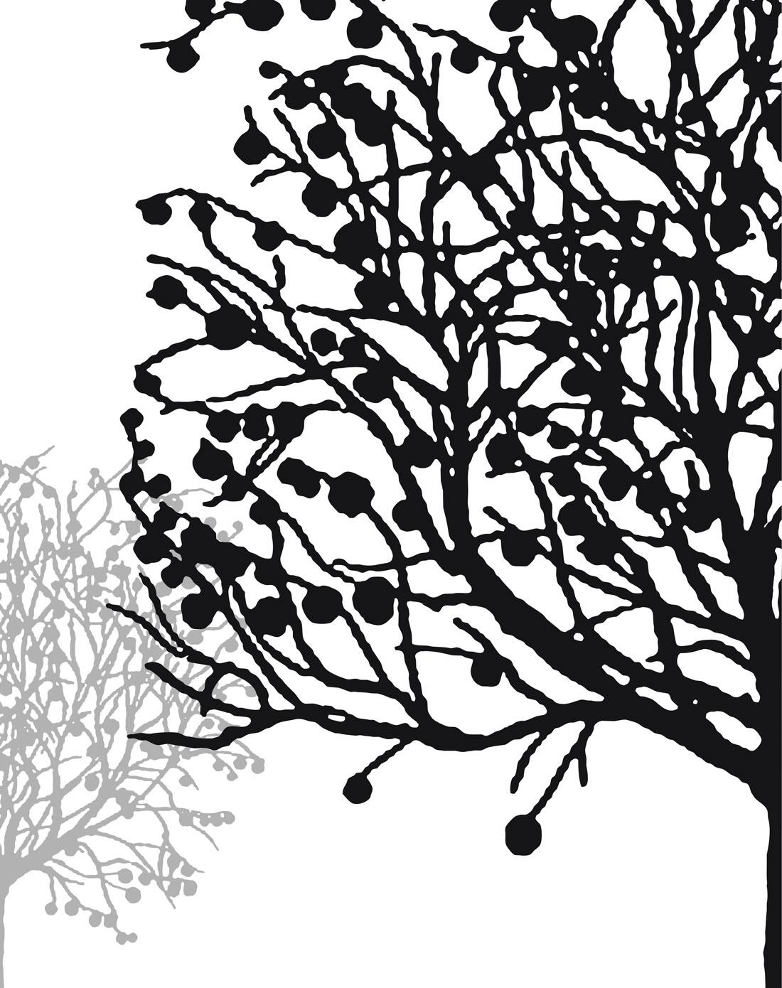 抽象艺术简约黑白装饰画 幸运树