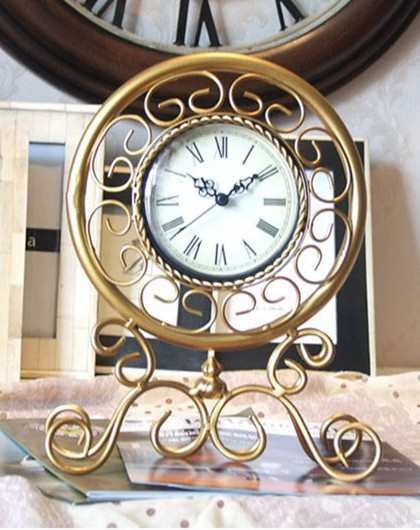 (清仓)欧式金色宫廷铁艺座钟个性台钟