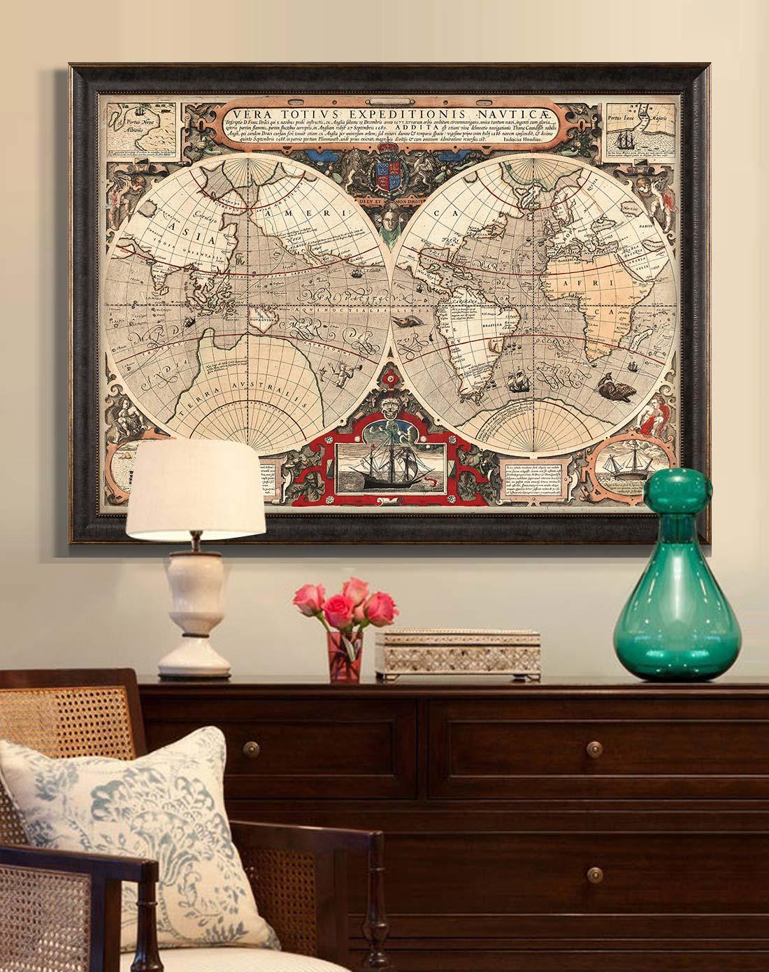 美式复古高端大尺寸装饰画 地图