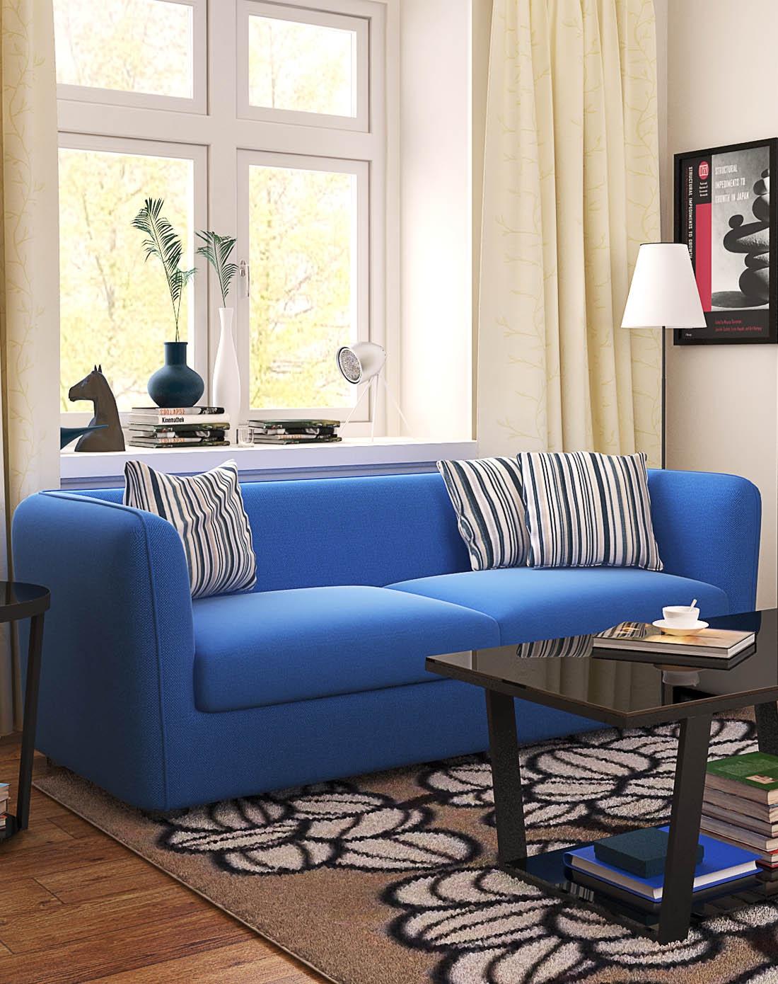 潮土creatwo家具时尚浪漫地中海风蓝色沙发
