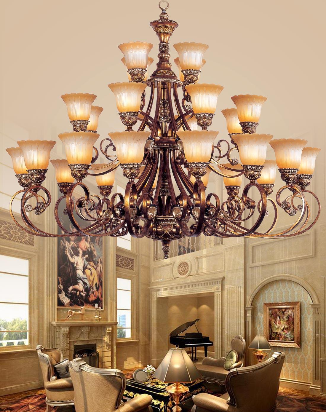 16+8+4欧式吊灯 复古 客厅别墅