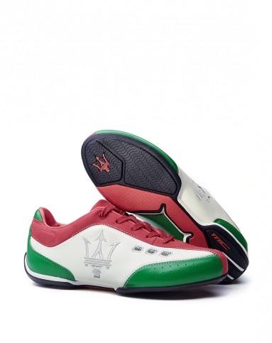 玛莎拉蒂maserati男女鞋女士意大利国旗色手工牛皮鞋