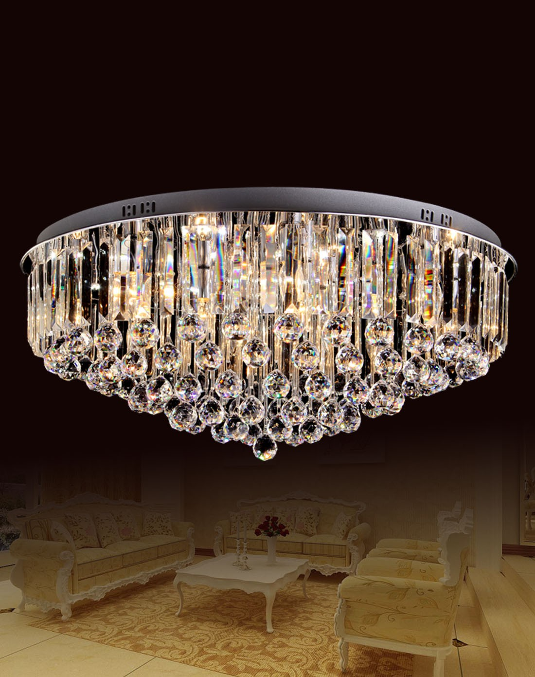 直径80cm圆形led现代欧式客厅水晶灯