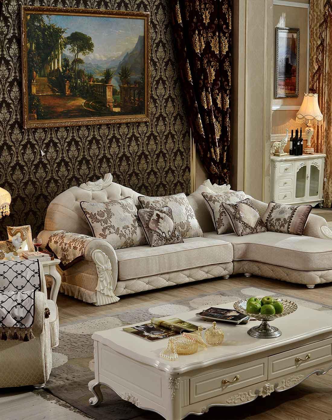 简约欧式布艺沙发组合转角 下单选贵妃