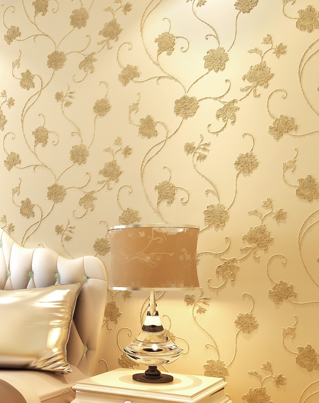 米黄色无纺布温馨浪漫欧式满铺墙纸