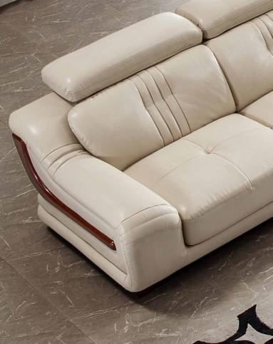实木镶边皮艺沙发皮沙发