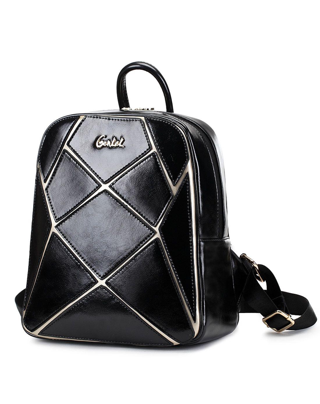 臻格genkek黑色潮款双肩包学院风旅行背包g15ab070b图片