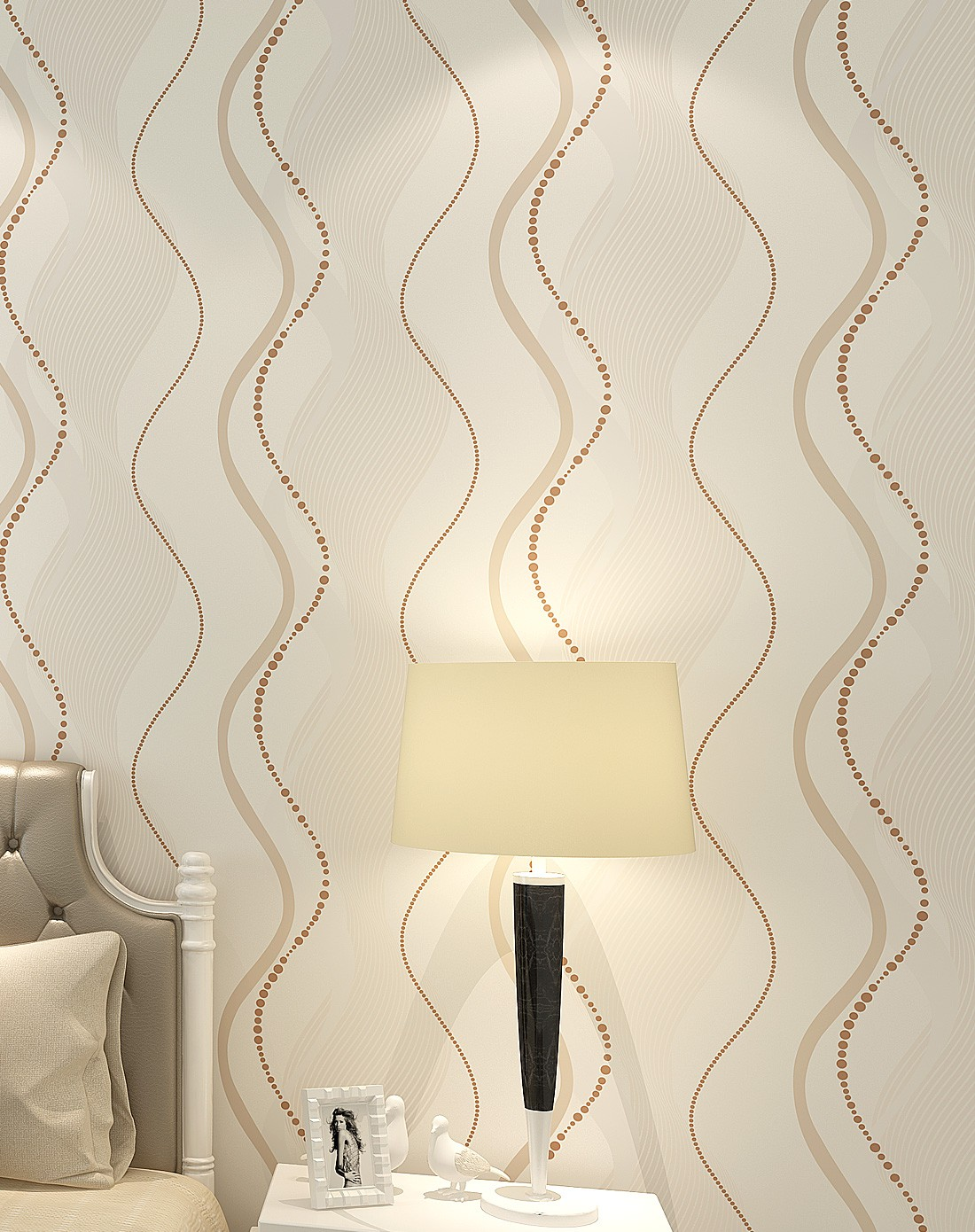 米黄色现代简约时尚条纹客厅卧室背景壁纸