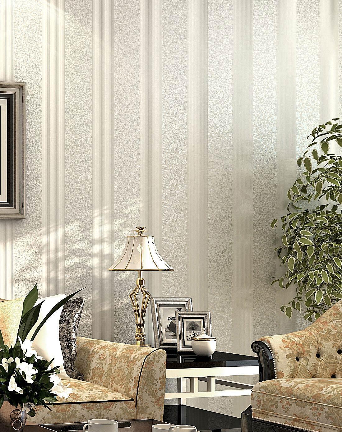 白色欧式简约竖条纹客厅卧室无妨布壁纸