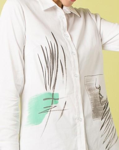 女性手绘清新图案衬衫