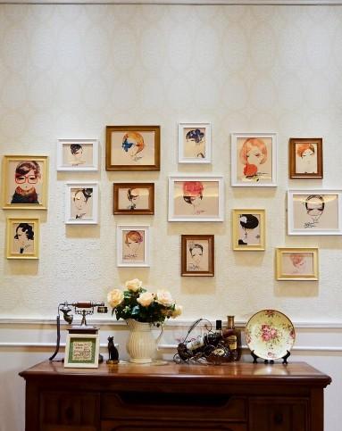15框欧式客厅照片墙白原胡组合