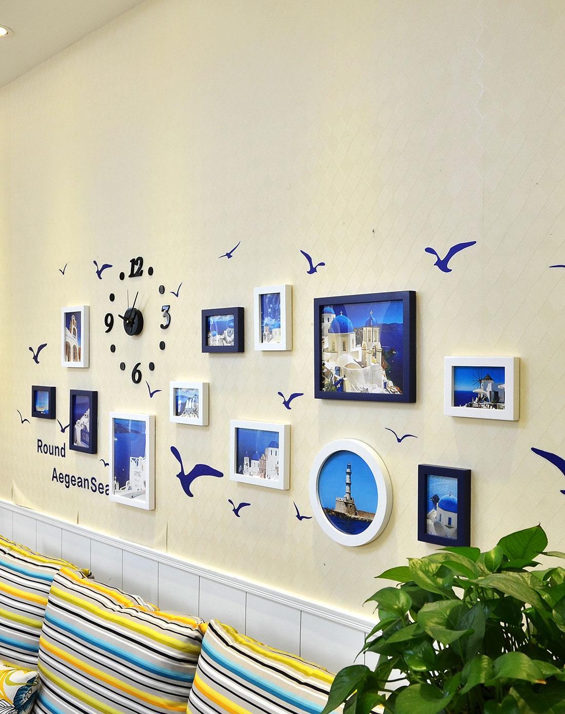 12框地中海系列钟表照片墙墙贴组合