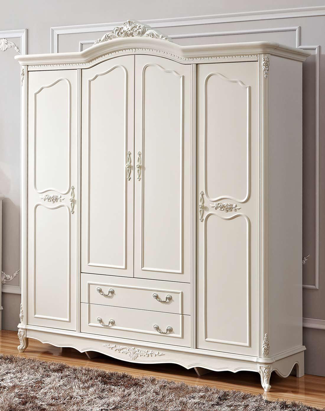 四门两大抽法式雕花衣柜