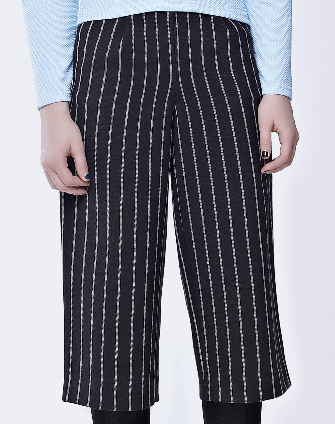 黑色休闲条纹阔腿裤