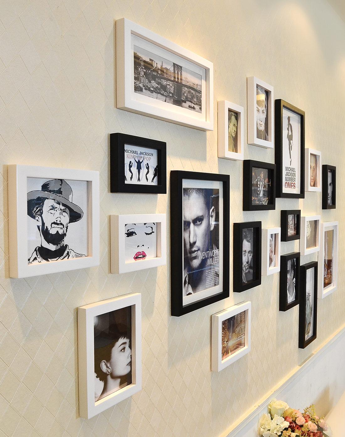 20框结婚照的照片墙黑白遐想组合