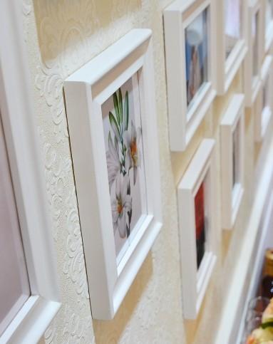 15框欧式客厅照片墙白色组合