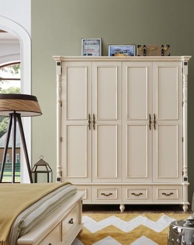 名象家具[现代简美]实木框架带抽四门大衣柜lb603x922