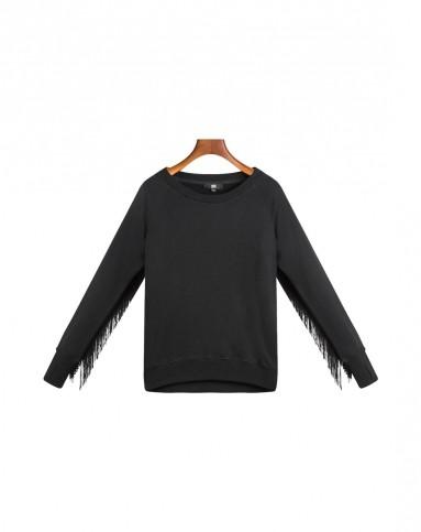 七格格旗下品牌othercrazy黑色 袖子流苏卫衣5cl4016w