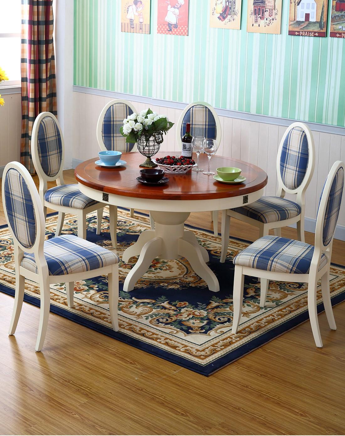 巨宝家具专场美式乡村全实木餐桌地中海风格圆形饭桌