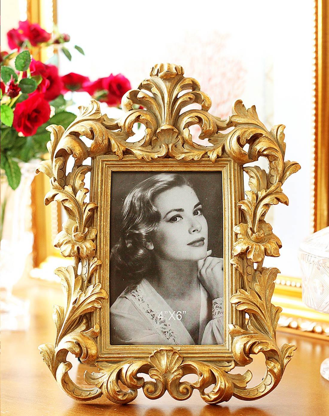欧式高贵复古金色相框6寸h款