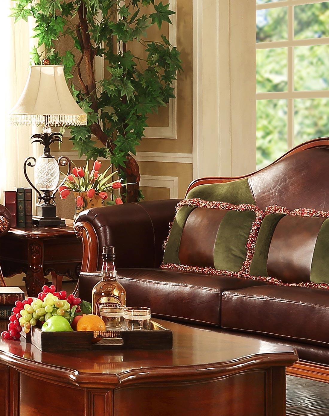 美式实木皮艺沙发 三人位图片