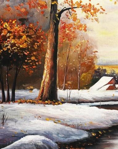 美画手绘油画冬日雪景70*100