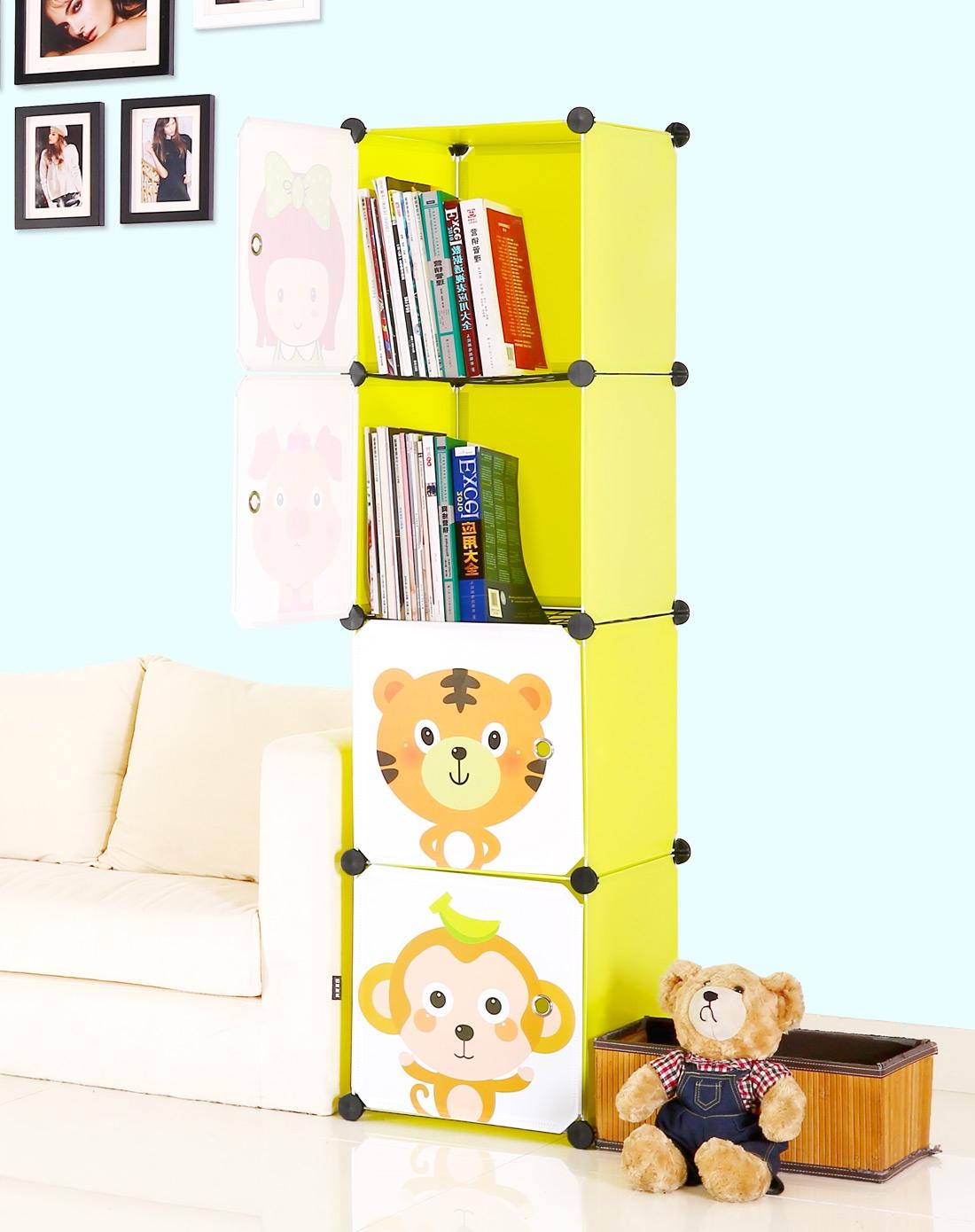 蔻丝宜家自由组合书架 格子柜储物柜带门 创意儿童书柜 书橱