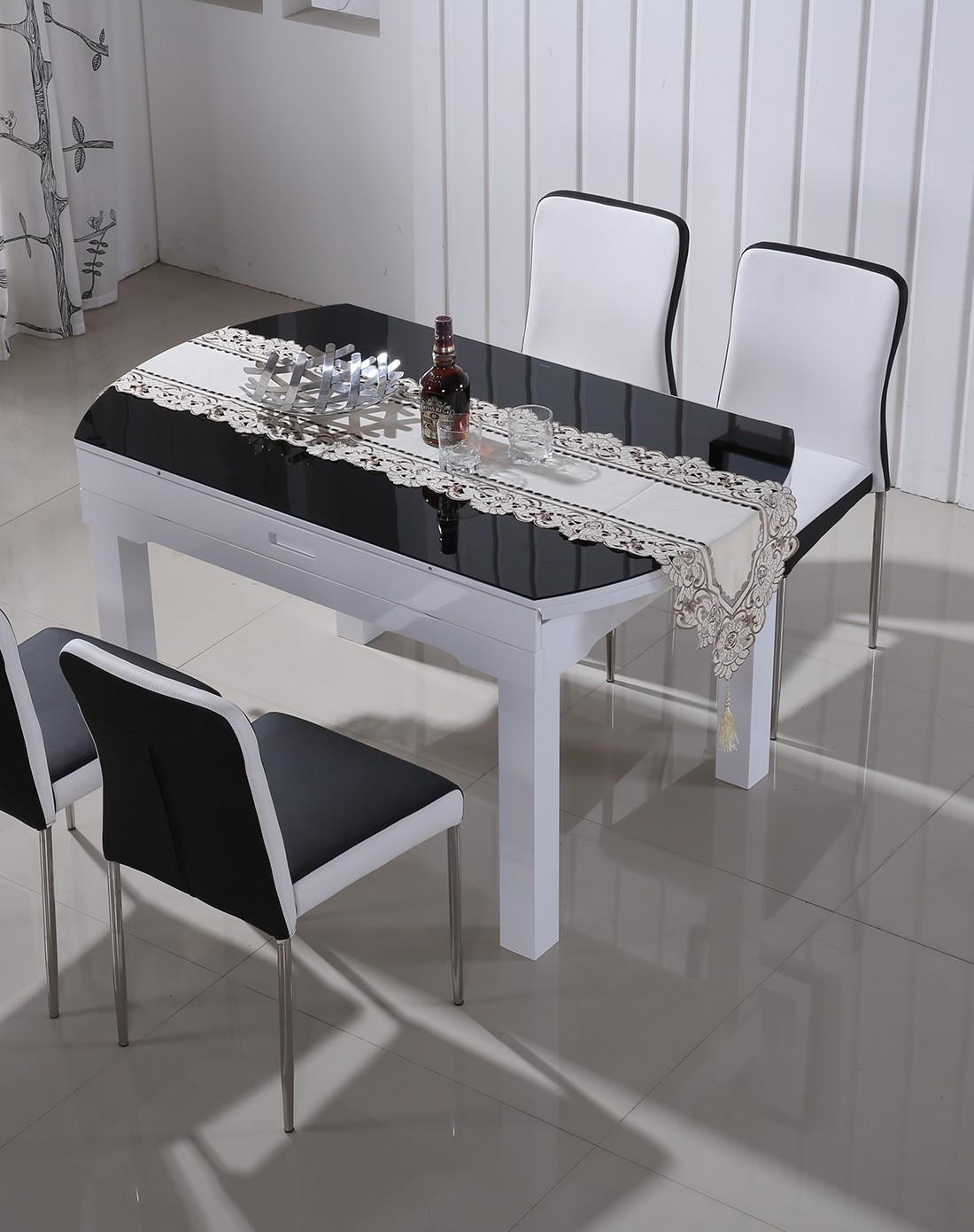 圆形折叠桌实木框伸缩圆餐桌