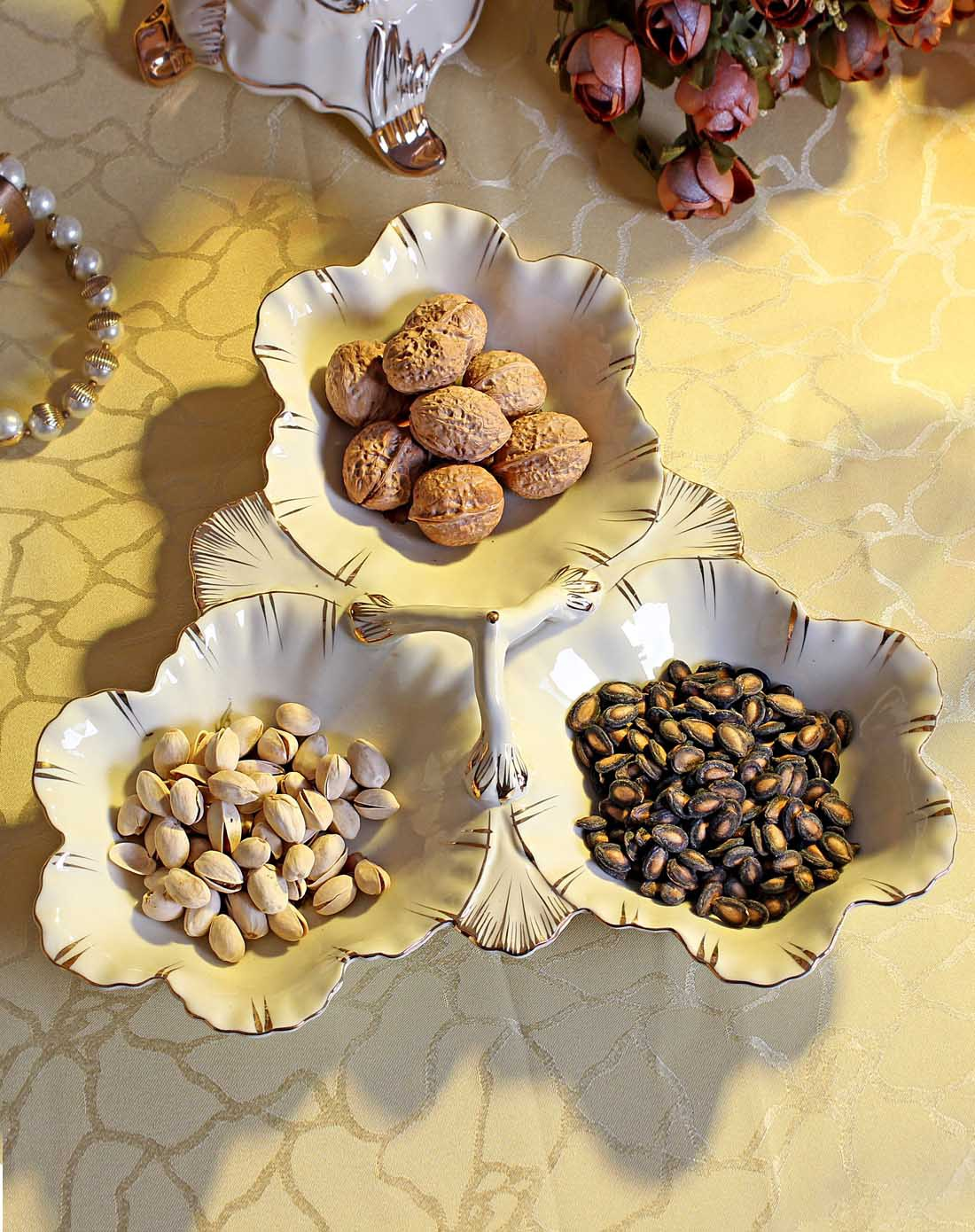 朵兰舍doolans欧式陶瓷三格坚果糖果盘ab15图片