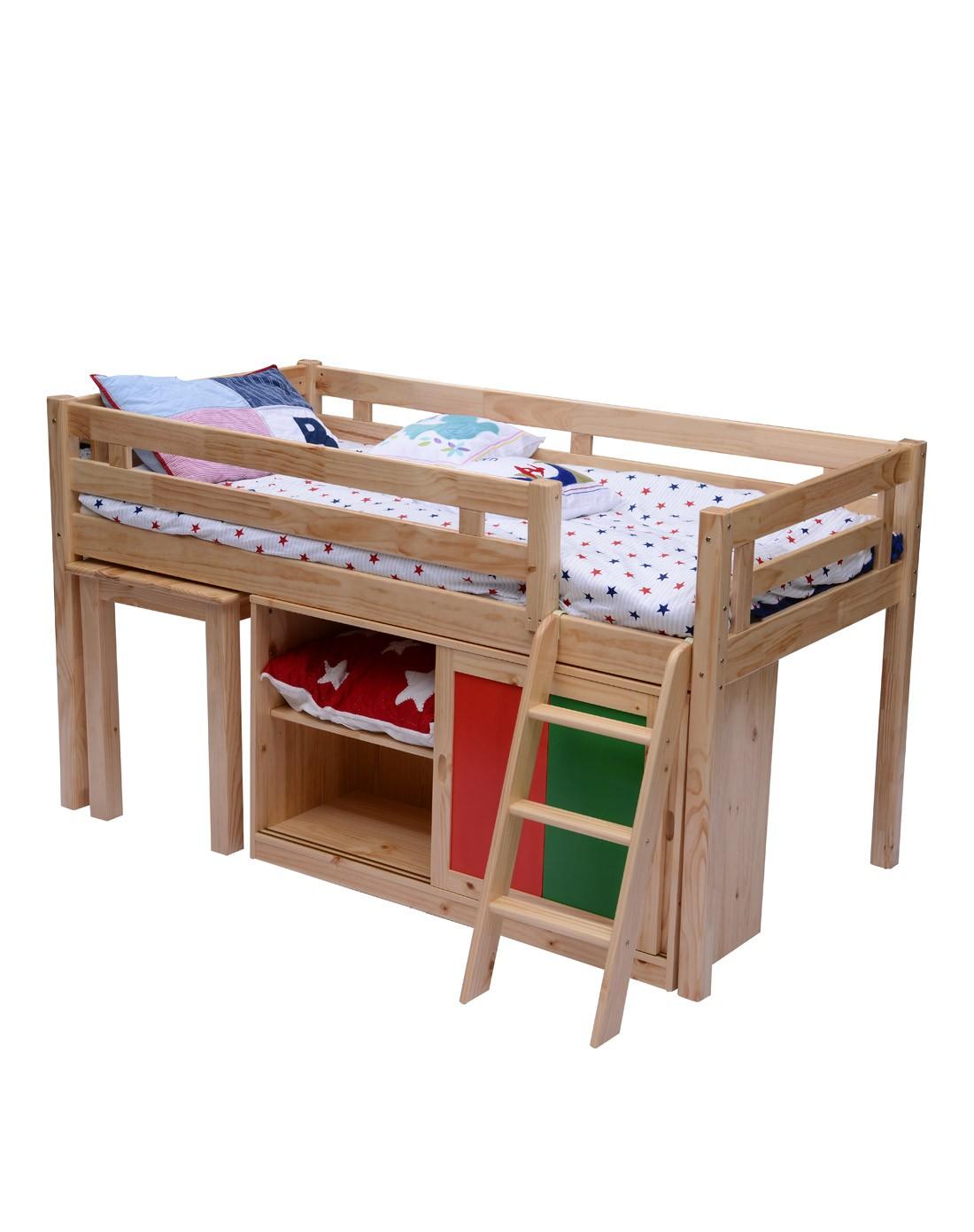 b家具专场实木儿童护栏挂梯床配移门柜书桌