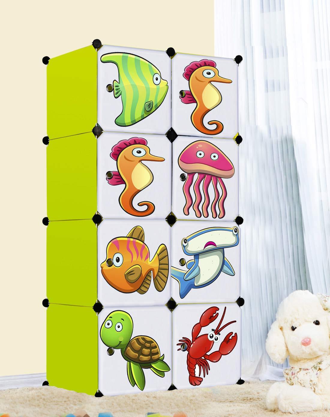 海底世界卡通萌渔宝宝环保八格收纳柜