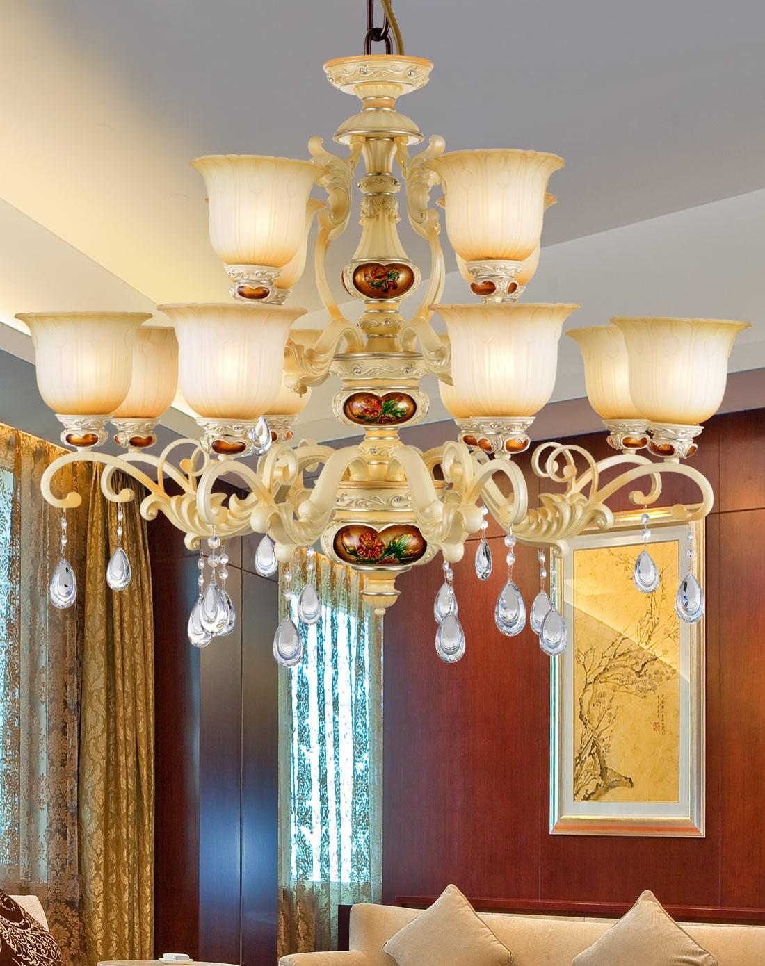 歐式貴族奢華客廳臥室水晶吊燈12頭