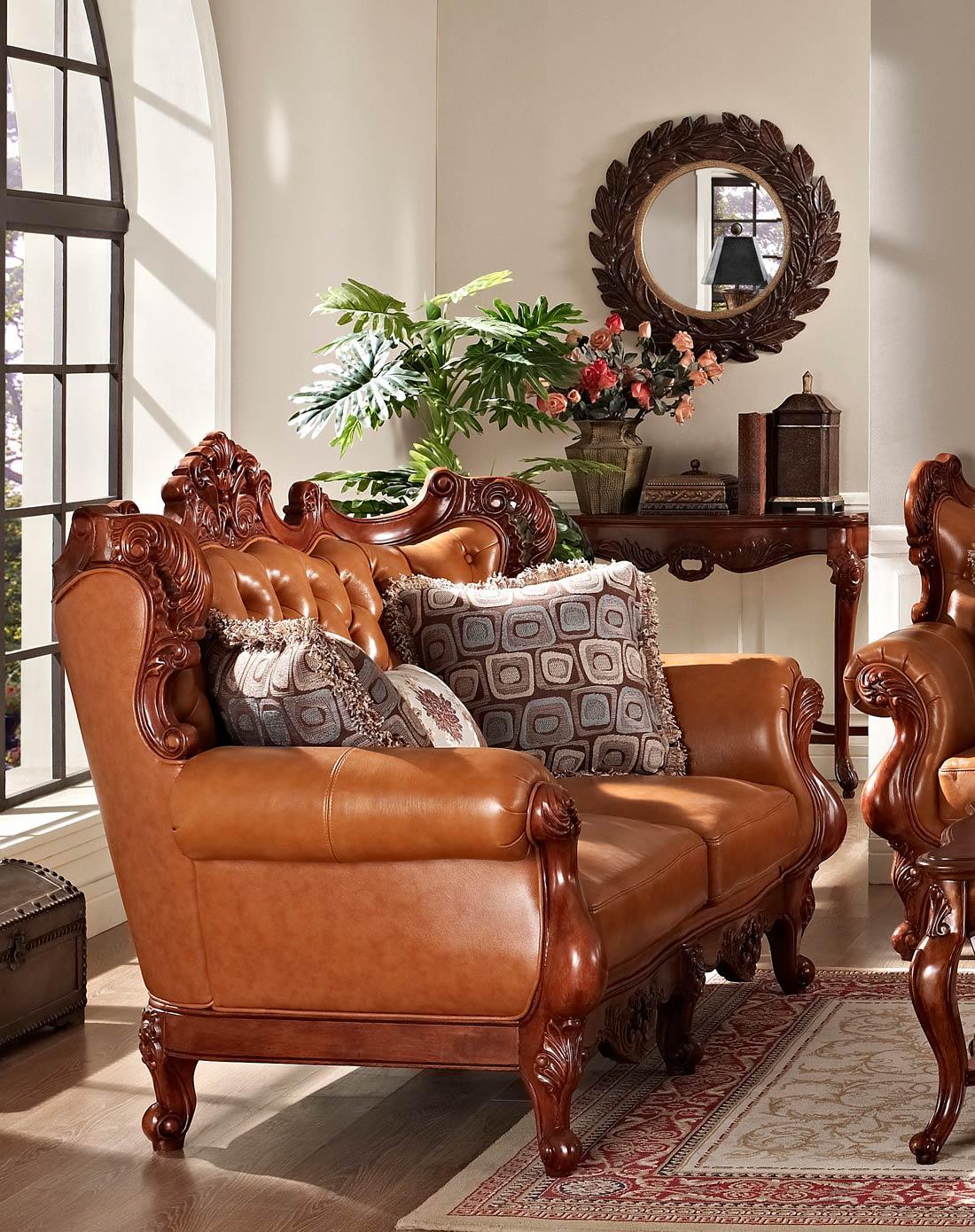 美式实木雕花真皮沙发 双人位图片