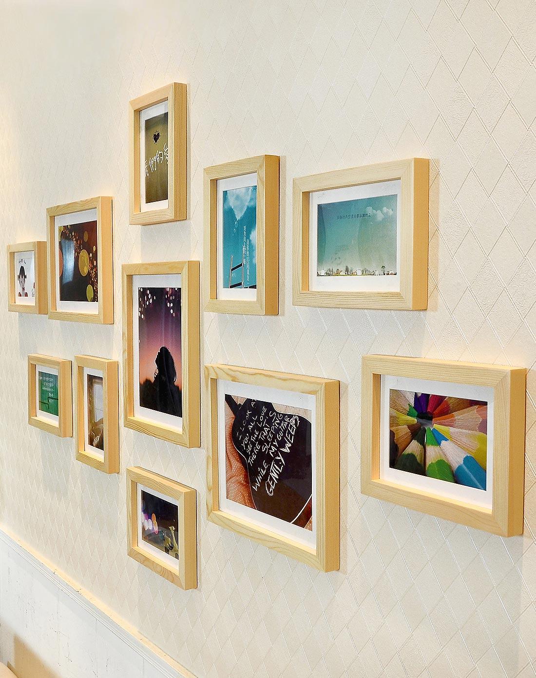 11框小墙面现代照片墙原木组合