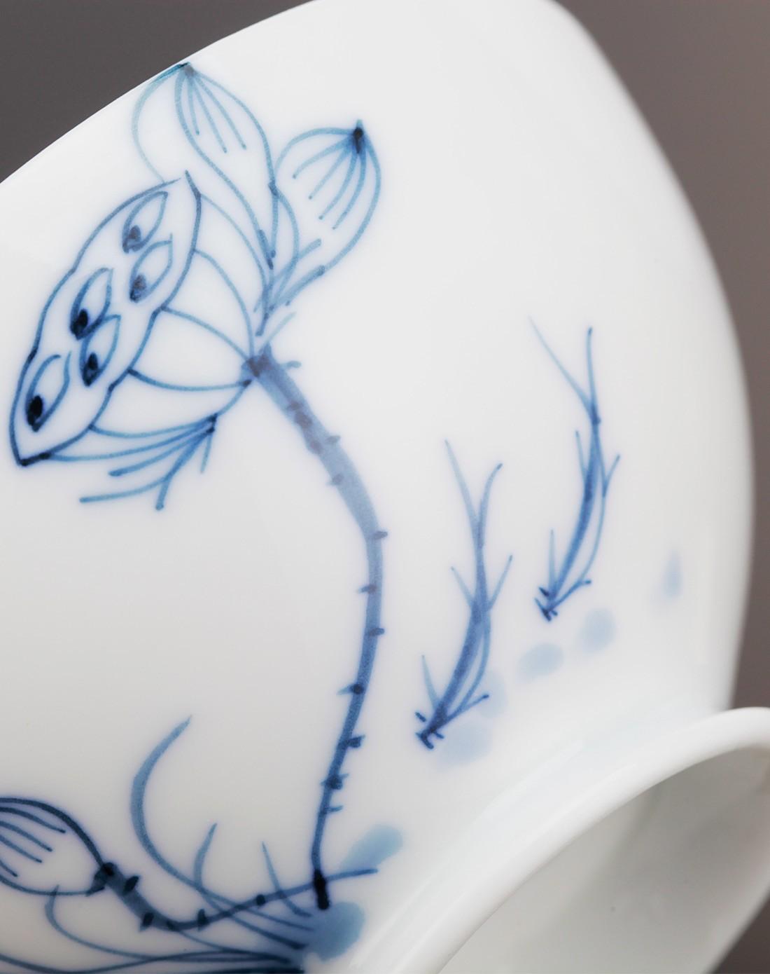 莲藕与小鱼-蓝彩手绘双人明月主人杯套装
