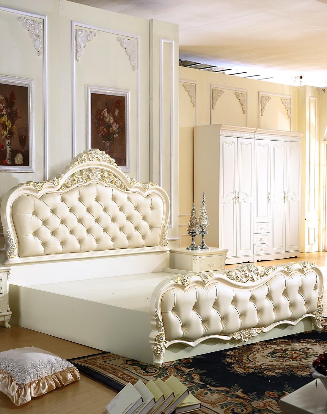 欧式风格实木皮艺板式高箱床1.8米