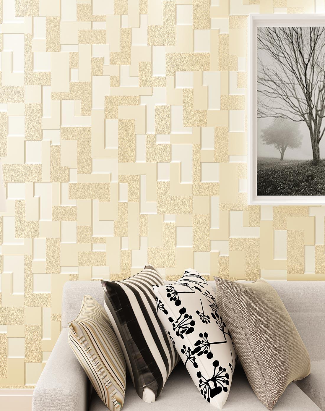 无纺布墙纸 卧室现代简约3d立体壁纸
