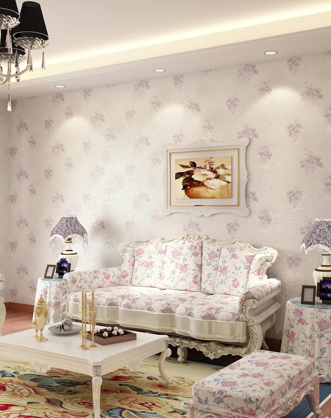 田园无纺布墙纸 卧室壁纸背景墙