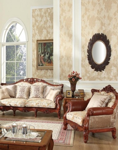 美式实木雕花布艺沙发 组合