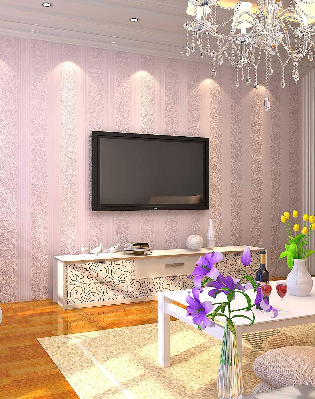 淡粉色欧式简约卧室客厅无纺布墙纸