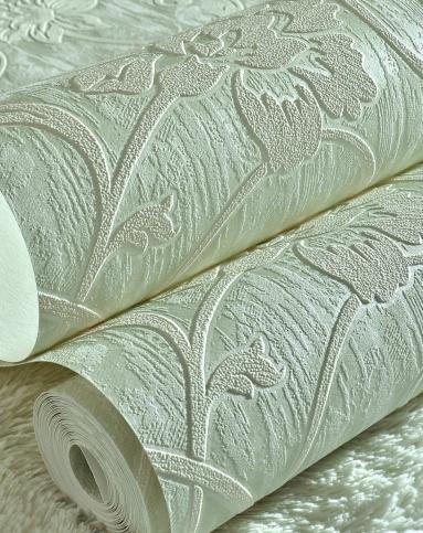 纸尚美学墙纸专场 > 浅绿色立体浮雕3d欧式简约风格壁纸