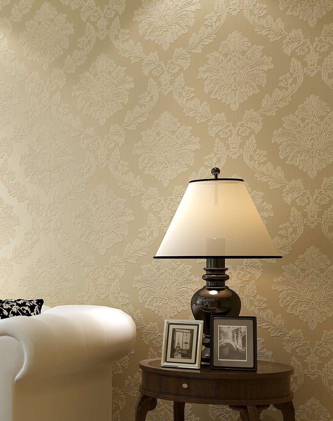 米黄色欧式奢华圆网鎏金无纺布墙纸