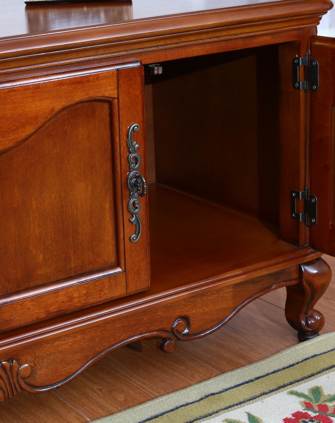 美式实木雕花复古电视柜